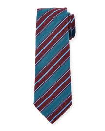 Woven Textured-Stripe Silk Tie