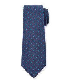 Woven Dot-Pattern Twill Silk Tie