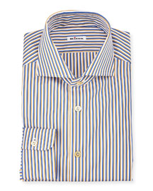 Striped Long-Sleeve Sport Shirt, Navy