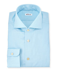 Solid Woven Dress Shirt, Aqua