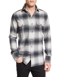 Exploded Plaid Flannel Sport Shirt, Gray/White
