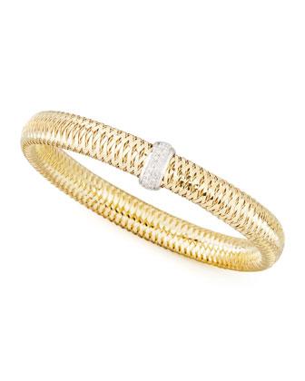 Primavera 18k Medium Flat Diamond-Station Bracelet, 0.10 TCW
