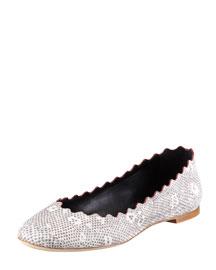 Snake-Print Scalloped Ballerina Flat