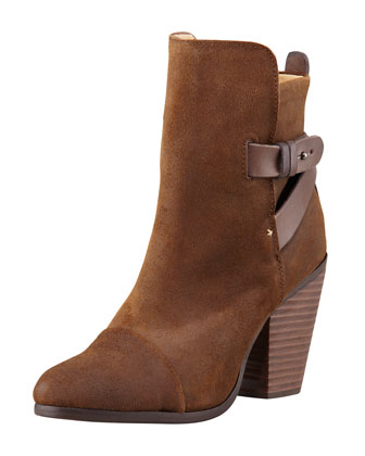 Kinsey Waxed Suede Bootie, Dark Brown