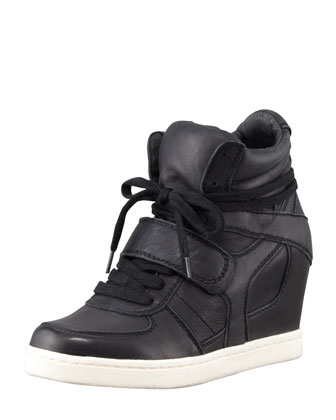 Cool Hidden-Wedge High-Top Sneaker, Black