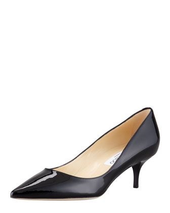 Aza Low-Heel Patent Pump, Black
