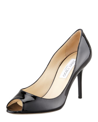 Evelyn Patent Peep-Toe Pump, Black