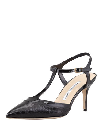 Wotton Snake T-Strap Pump, Black