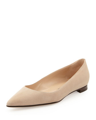 BB Suede Pointed-Toe Flat, Taupe