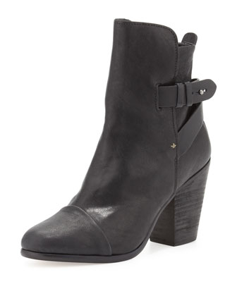Kinsey Leather Cap-Toe Bootie, Black