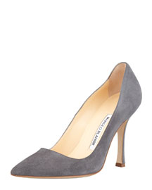 BB Suede Point-Toe Pump, Gray