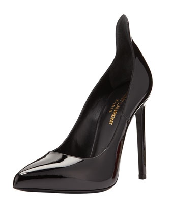 Paris Patent Peak-Back Pointy Pump
