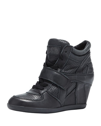 Bowie Leather Wedge Sneaker, Black