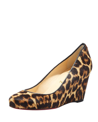 Melisa Leopard-Print Wedge Red Sole Pump
