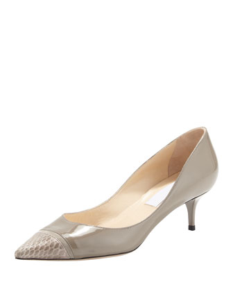 Anejo Snake-Toe Pointy Pump, Light Gray