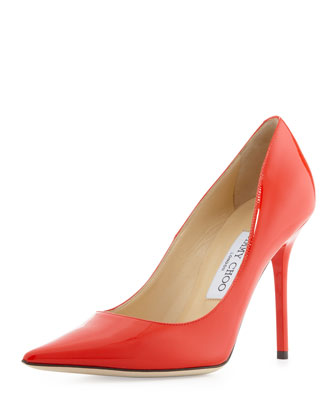 Abel Patent Point-Toe Pump, Flame Red