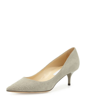 Aza Studded Suede Point-Toe Pump, Gray