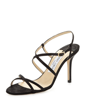 Elaine Strappy Satin Sandal, Black