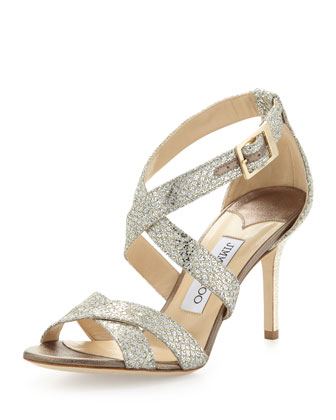 Louise Glittery Crisscross Sandal, Champagne