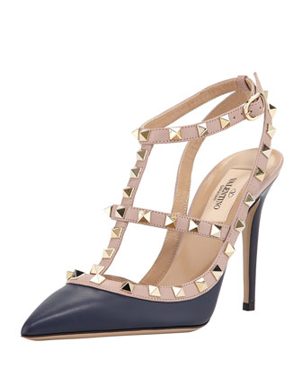 Rockstud Leather Slingback Pump, Navy
