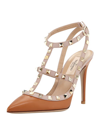 Rockstud Leather Slingback Pump, Tan