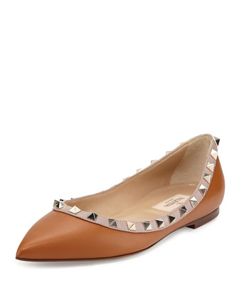 Rockstud Leather Skimmer Flat, Tan