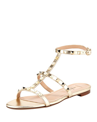 Rockstud Single-Wrap Gladiator Sandal, Gold