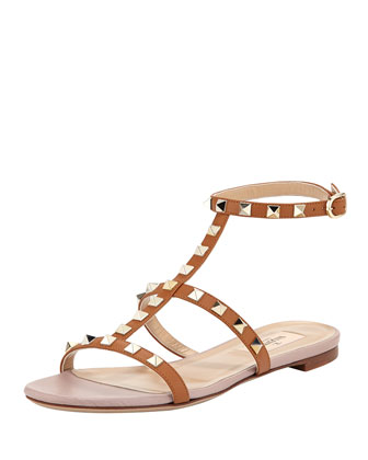 Rockstud Single-Wrap Gladiator Sandal, Tan
