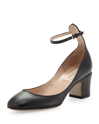 Tango Leather Ankle-Wrap Pump