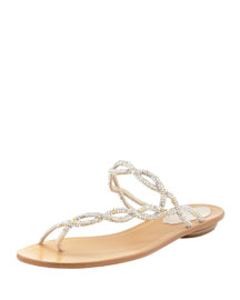 Braided Strass Toe-Ring Sandal, Metallic Gray