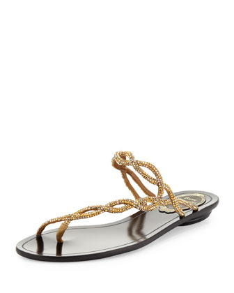 Braided Strass Toe-Ring Sandal, Gold