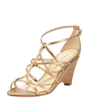 Metallic Snake Woven-Cork Wedge, Gold