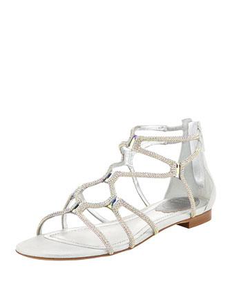 Crystal Gladiator Flat Sandal, Multi