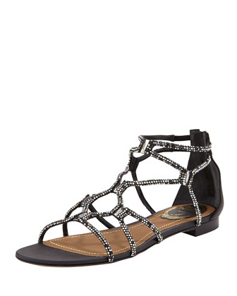 Crystal Gladiator Flat Sandal, Black