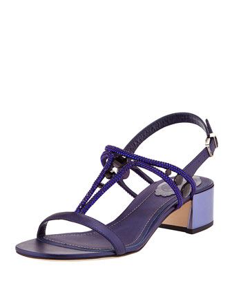 Crystal T-Strap Mirrored-Heel Sandal, Navy