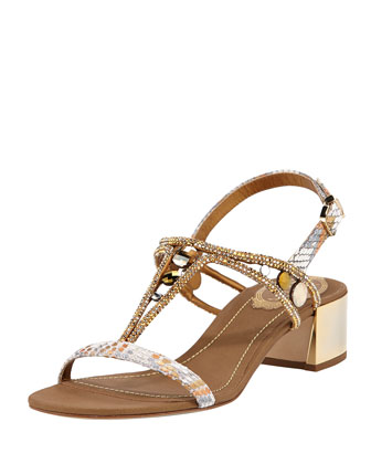 Python/Crystal Mirrored-Heel Sandal, Gold