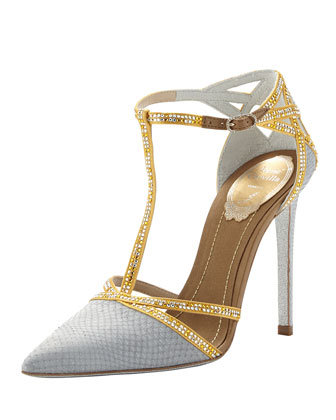 Bejeweled Snake-Print T-Strap Pump, Dark Gray