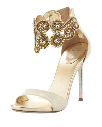 Wendy Crystal Ankle-Bracelet Sandal, Gold