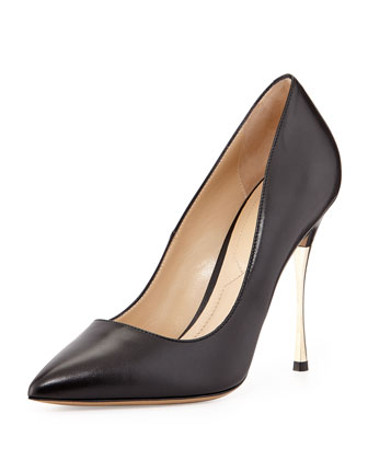 Golden-Heel Point-Toe Pump