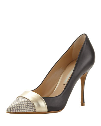 Pointed Snake-Toe Pump, Black/Gold