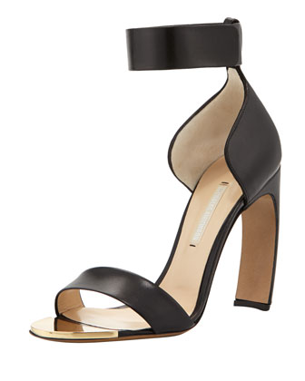 Curved High-Heel Ankle-Wrap Sandal, Black