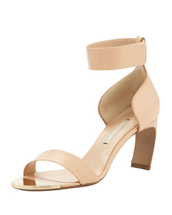 Leather Curved-Heel Ankle-Wrap Sandal, Neutral