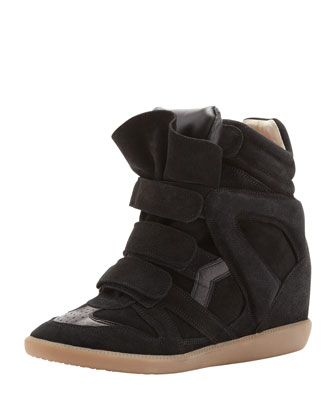 Beckett Hi-Top Wedge Sneaker, Black
