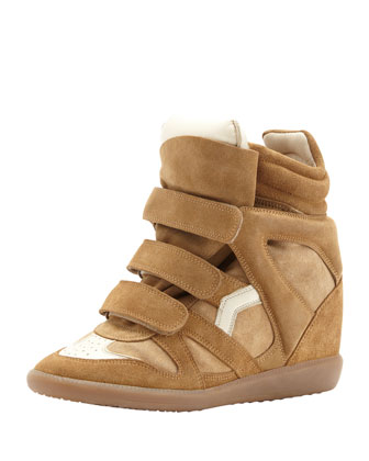Beckett Hi-Top Wedge Sneaker, Tan