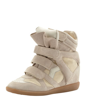 Beckett Hi-Top Wedge Sneaker, Beige