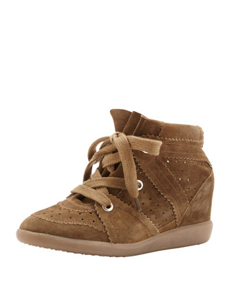 Bobby Low-Rise Perforated Wedge Sneaker, Medium Brown