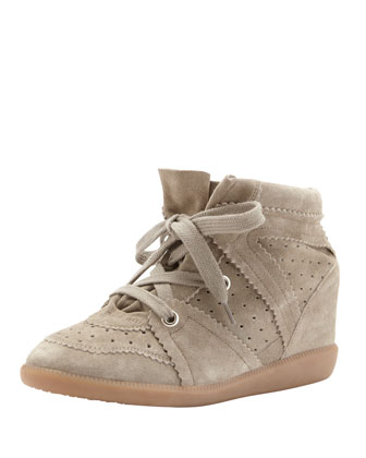 Bobby Low-Rise Perforated Wedge Sneaker, Taupe