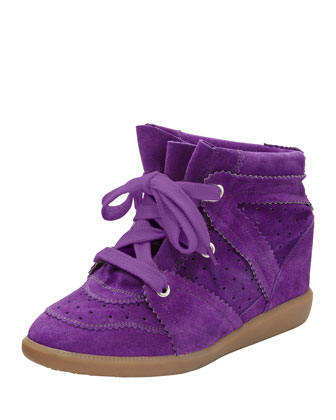 Bobby Low-Rise Perforated Wedge Sneaker, Purple