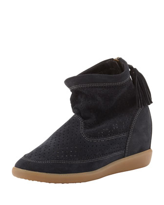 Beslay Perforated Suede Bootie. Gray