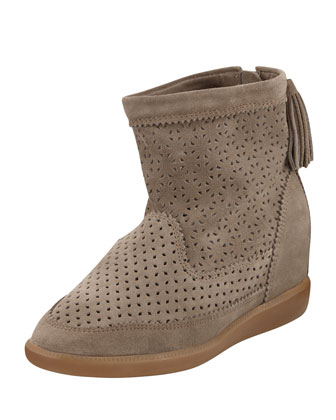 Beslay Perforated Suede Bootie, Taupe